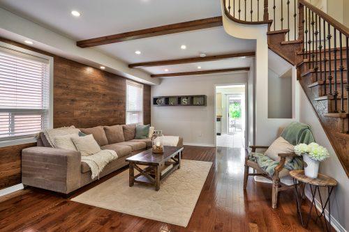 Great Room, Hardwood Floors, Live Edge Style Beams